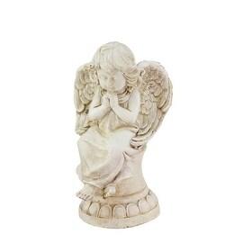"9.5"" Heavenly Gardens Distressed Ivory Hopeful Cherub Angel Outdoor Patio Garden Statue"