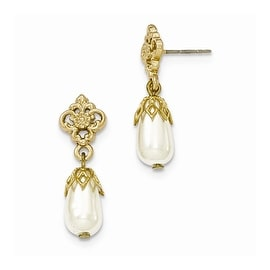 Goldtone Downton Abbey Simulated Pearl Drop Dangle Post Earrings