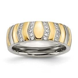 Chisel Titanium Polished Yellow IP CZs 7mm Ring