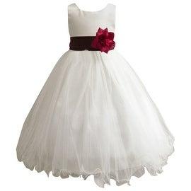 Wedding Easter Flower Girl Dress Paperio Ivory Rattail Satin Tulle (Baby - 14) Wine Burgundy