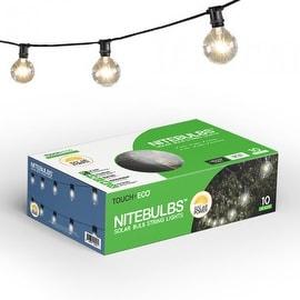 NITEBULBS Solar Patio String Lights Edison style 10 count bulbs