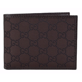 New Gucci Men's 143384 Brown Nylon GG Guccissima Logo Coin Pocket Bifold Wallet