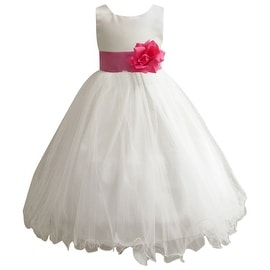 Wedding Easter Flower Girl Dress Paperio Ivory Rattail Satin Tulle (Baby - 14) Fuchsia