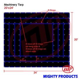 Xtarps - 20' x 24' Flatbed Truck Tarp - Light Weight Machinery Tarp