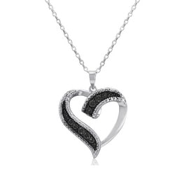 Amanda Rose Sterling Silver Black Diamond Heart Pendant-Necklace