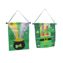"""Set of 2 Decorative Green Lucky Pot of Gold St. Patrick's Day Banners 18.5"""""""