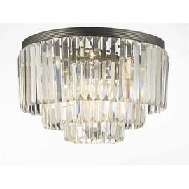 Odeon Empress Crystal Glass Fringe 3-Tier Flush Chandelier Lighting