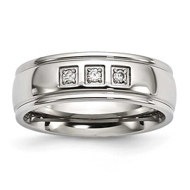 Stainless Steel Polished with CZ Ring - Sizes 7 - 13