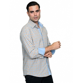 IN-64 Men's Manzini Tan &blue Plaid Design Cotton Shirt with Solid Trim