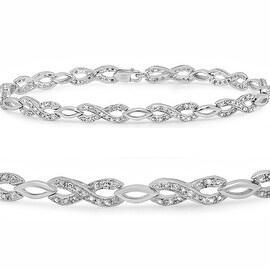 Amanda Rose Sterling Silver Diamond Infinity Tennis Bracelet 1/4ct TDW