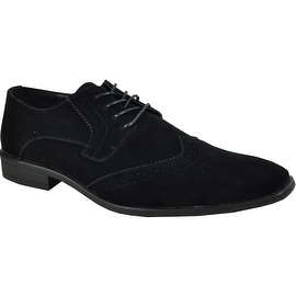 BRAVO Men Dress Shoe KING-3 Wingtip Oxford Shoe Black - Wide Width Available