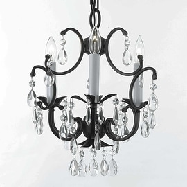 Black Wrought Iron Crystal Chandelier Country French Lighting Light Fixture