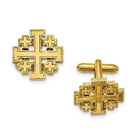 14k Gold IP Jerusalem Cross Cuff Links
