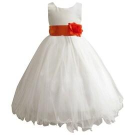 Wedding Easter Flower Girl Dress Paperio Ivory Rattail Satin Tulle (Baby - 14) Orange