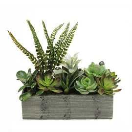 "11.75"" Artificial Mixed Succulent Plants in a Decorative Weathered Gray Wooden Rectangular Pot"