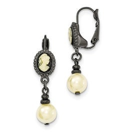 Black IP Acrylic Cameo Simulated Pearl Leverback Earrings