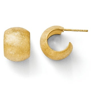 Italian Sterling Silver Gold-plated Scratch Finish Huggy Post Earrings