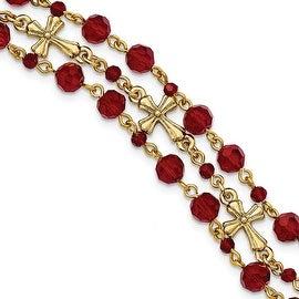 14k Gold IP Red Bead Triple Row Cross Toggle Bracelet - 7.5in