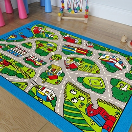 """AllStar Rugs Kids Area Rug. Street Map with Vibrant Colors (3' 3"""" x 4' 10"""")"""