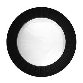 "20"" Simply Elegant Black Fluted Frame Decorative Round Wall Mirror"