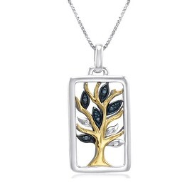 Amanda Rose IGI Certified Sterling Silver and 14k Yellow Gold Diamond Tree of Life Pendant Necklace