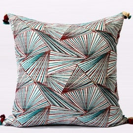 "Gentille Home Collection Luxury Green Changing Geometric Pattern Tassels Pillow 20""X20"""