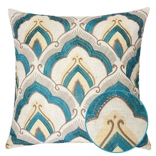 Embroidered Linen Throw Pillow Cover 20 x 20 Inch