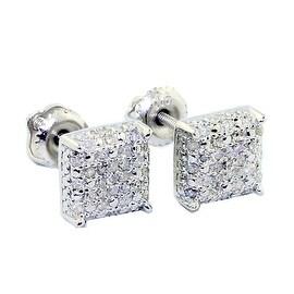 1/4cttw Diamond Stud Earrings Sterling Silver Cube Shaped 7mm Wide Screw Back