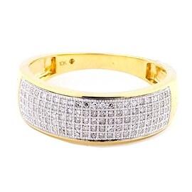 Mens Diamond Ring 0.28cttw 7mm Wide Band Pave Set Round Diamonds(0.28 cttw)