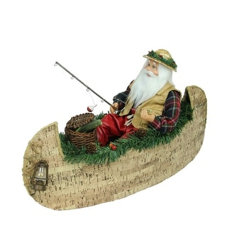 """18.5"""" Red and White Fishing Santa Claus in a Canoe Christmas Tabletop Decoration"""