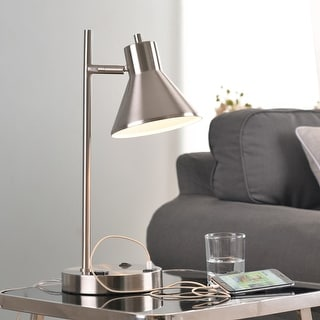 Poplar USB Desk Lamp - Brushed Steel