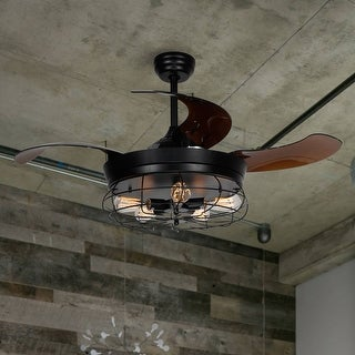 46-inch Industrial Foldable 4-Blades Ceiling Fans with Shade