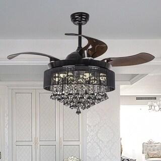 "Modern Foldable 4-Blades Black Crystal LED Ceiling Fan - d42""*h24.2"""