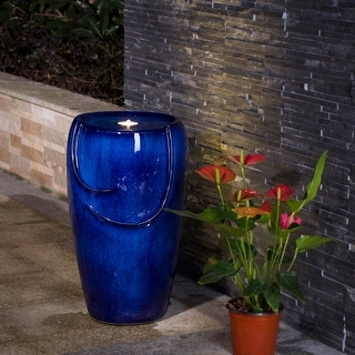 Demta 20.5-inch Cobalt Blue Ceramic Fountain with LED Light by Havenside Home
