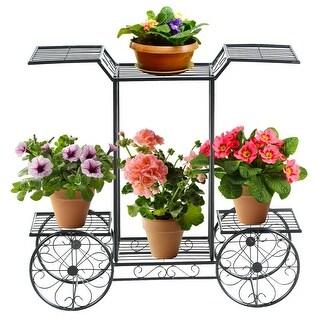 Gymax 6-Tier Garden Cart Stand Flower Rack Display Decor Flower Pot