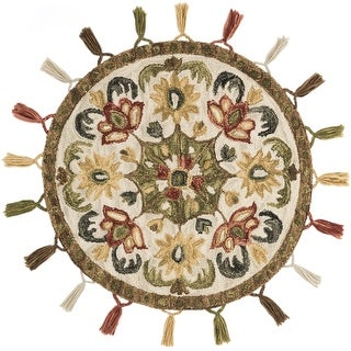 Alexander Home Hand-Hooked Sophie 100% Wool Olive Tassel Round Rug - 3' x 3' Round