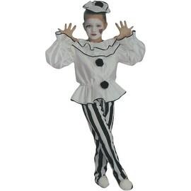 Girls Deluxe Pierrot Clown Costume Size Medium (8-10)