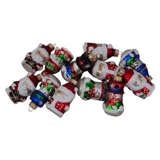 12ct Red Winter Snowmen and Santa Claus Figurine Glass Christmas Ornament