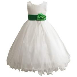 Wedding Easter Flower Girl Dress Wallao Ivory Rattail Satin Tulle (Baby - 14) Green Kelly