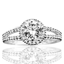 10K White Gold Bridal Engagement Ring With 1.5ctw Cz 8.5mm Wide Halo Style