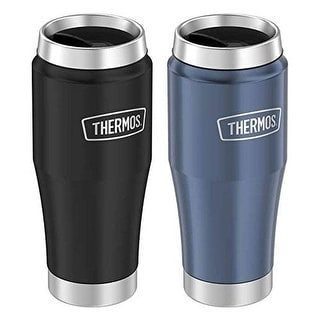 Thermos 2-Pack Vacuum Insulated Stainless King Travel Tumbler, Matte Navy-Blue, 16 Ounces - 16 oz