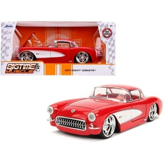 1957 Chevrolet Corvette Red with Red Interior Bigtime Muscle 1/24 Diecast Model Car by Jada