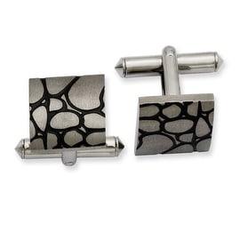 Chisel Titanium Black Enameled Cuff Links