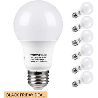 TORCHSTAR A19 LED Light Bulb, UL, 3000K Warm White, Pack of 6