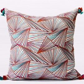 "Gentille Home Collection Luxury Orange Changing Geometric Pattern Tassels Pillow 20""X20"""