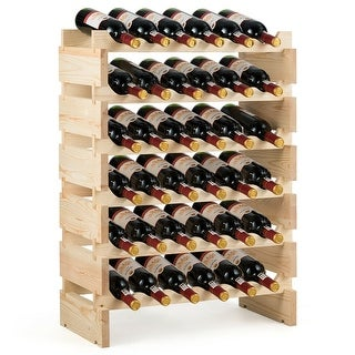 Gymax 36 Bottle Modular Wine Rack 6 Tier Stackable Wooden Display Shelves Wobble-Free - Natural