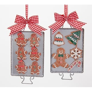 Kurt Adler Gingerbread Men Baked Cookies on Tray Ornaments Set of 2 Metal