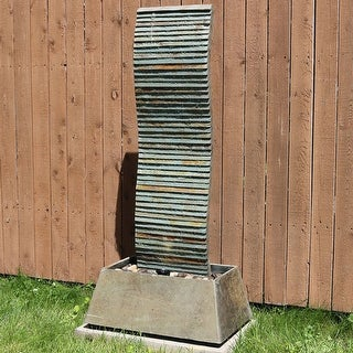 "Sunnydaze Spiraling Slate Outdoor Water Fountain 49"" Garden Water Feature w/ LED"