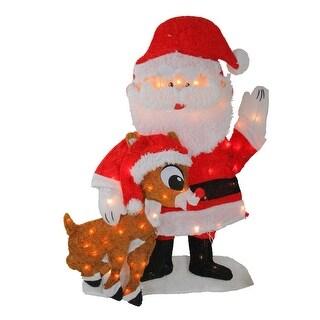 """32"""" Prelit Waving Santa Claus and Rudolph Christmas Outdoor Decor"""