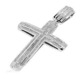 Mens Diamond Cross Pendant 1.1cttw Diamonds Pave Set 60mm Tall